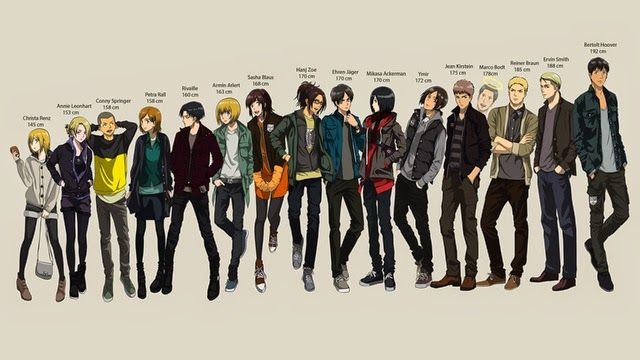 Anime Characters Height : Aot characters from shortest to tallest attack on titan