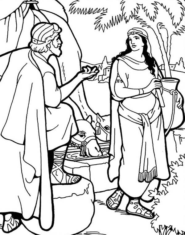 Abraham Servant Meets Rebekah Coloring Pages