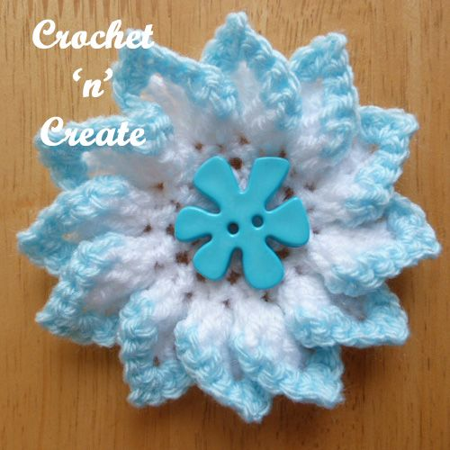 Pretty folded petal flower, free crochet pattern, use as an adornment for clothing, blankets etc. #crochet