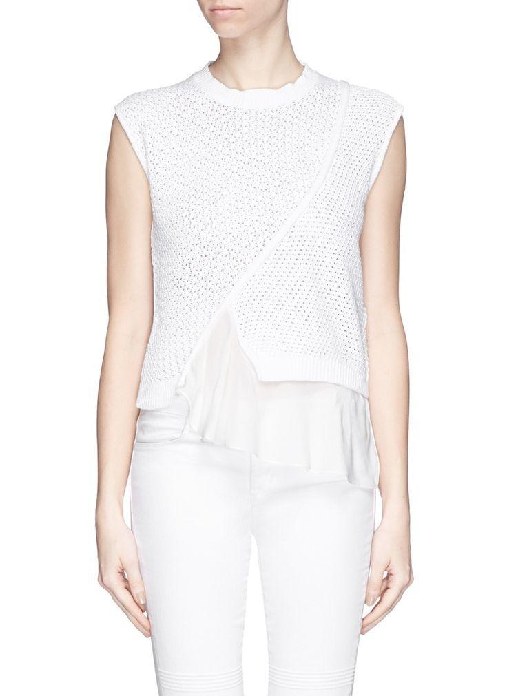 3.1 PHILLIP LIM Silk hem mixed knit sleeveless sweater