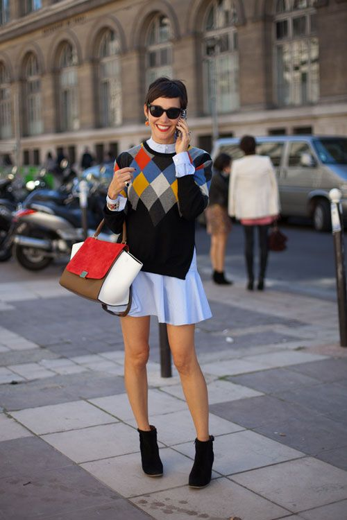 STREET STYLE SPRING 2013: PARIS FASHION WEEK - We adore this finely-wrought mix of primary colors, layering and black.