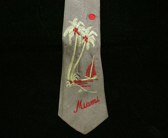 1930s Men's Novelty Tie - Miami Florida Scenic Embroidery - Palm Trees & Sailboat Scene - 30s 40s Lindy Hop Style - Silk Embroidered - 44013