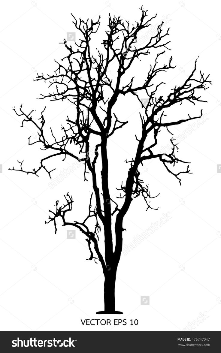 how to draw dead tree silhouette