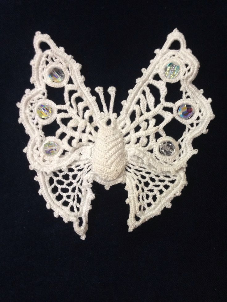 Irish crochet butterfly (Figure 41) I made into a hair clip.