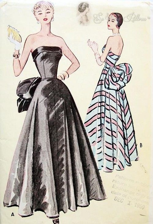 1950s Formal Evening Ball Gown Pattern Striking Strapless Fitted Bodice Full Skirted Large Bustle Bow McCall 8288 Bust 36