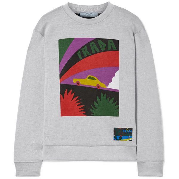 Prada Printed cotton-blend jersey sweatshirt found on Polyvore featuring tops, hoodies, sweatshirts, sweaters, grey, grey sweatshirt, multicolor sweatshirt, grey top, colorful tops and gray top