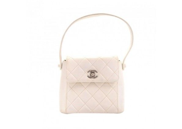 Chanel Flap White Quilted Leather Silver Tone Hardware Mini Hand Bag