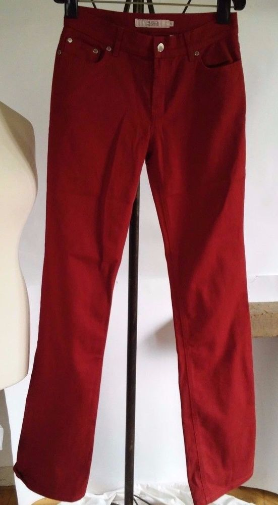 RED VALENTINO red jeans with a beautiful butterfly on the pocket size 27 #Valentino #StraightLeg