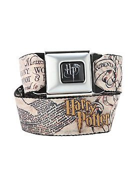 Buckle-Down brand seat belt belt with <i>Harry Potter</i> themed design and an authentic automotive style seat belt buckle.