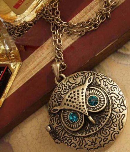 Старинные голубые глаза милые ретро сова свитер цепи круглую коробку может быть открыт сова цепи ожерелье мода старинные ожерелья