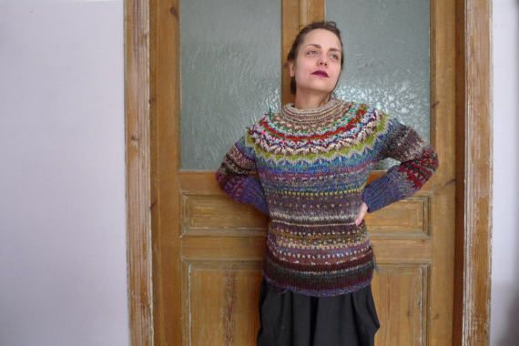 Handmade Icelandic style striped wool sweater for women by TASSSHA