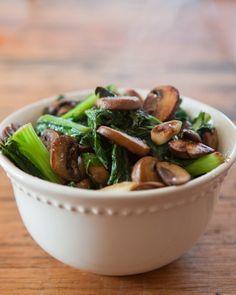 Garlic Greens & Mushrooms by teacher-chef #Salad #Greens #Mushrooms #Garlic