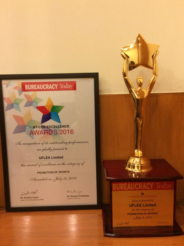 Bureaucracy Today #CSR Excellence Award 2016 to #Uflex for 'Promotion of Sports'