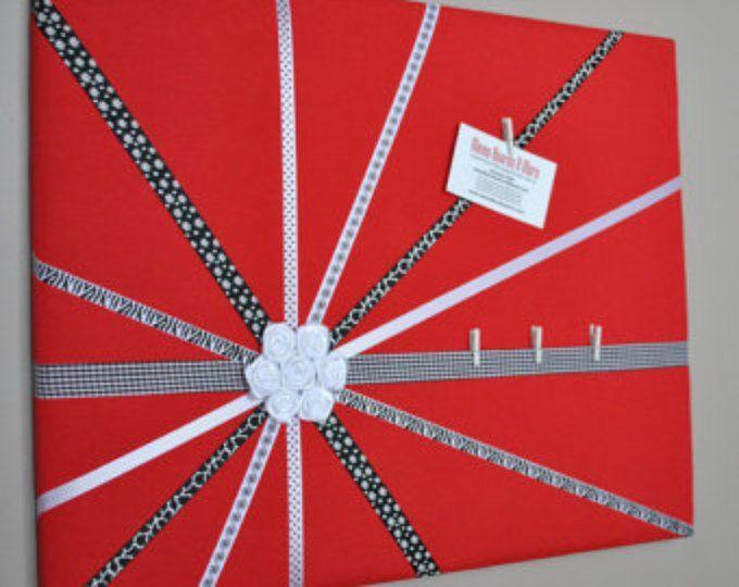 CLEARANCE Memo board, memory board, vision board, fabric memo board, French memo board, notice board, photo board, red decor, 3d wall art