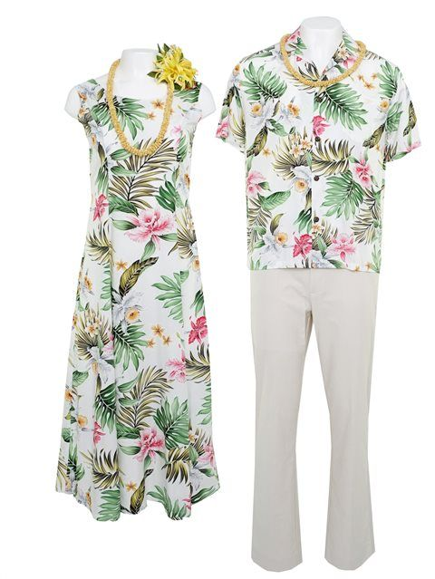 e4428c52 Orchid White Rayon Men's Hawaiian Shirt | Matching Hawaiian Outfits ...
