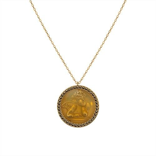 Feidt Paris Solitaire Necklace in 9K Gold and Grey Sapphire AT0tjobZ