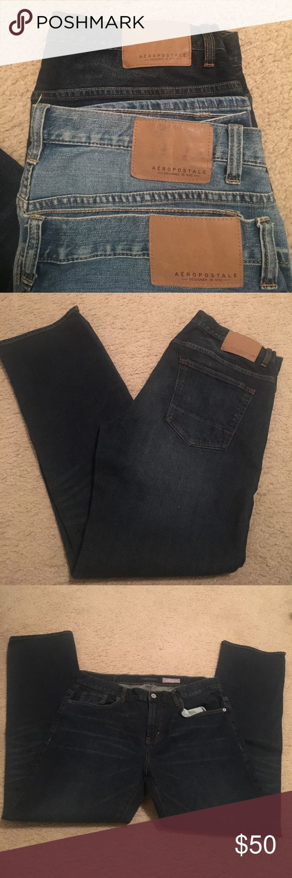 Aeropostale Slim Straight Men's Jeans Aeropostale Designed in NYC Slim Straight Men's Jeans for sale! These are my son's but bought them too long. They measure 34/32. Selling all three together. All in great condition, only wore several times. Bought all for $90, selling for $50. Denim Jeans, definitely comfortable and versatile!🌵👖👨🏻 Comes from a smoke free home:) Aeropostale Jeans Straight Leg