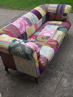 Handmade Velvet Patchwork Sofa - Antique Victorian 3 seater chesterfield c1880
