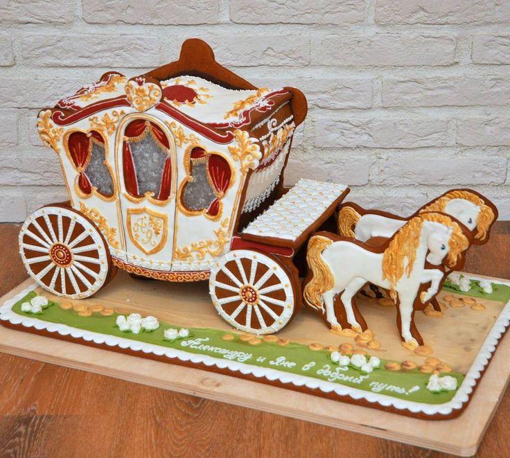 Большая пряничная карета (60 см в длину) на стильную свадьбу очень неординарным людям! Спасибо за доверие моим постоянным заказчикам!  Собственная пекарня, всё сертифицировано, возможна оплата по безналичному расчёту…
