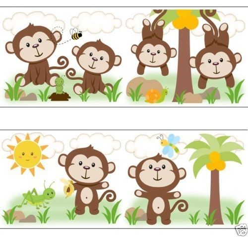 Monkey Wallpaper Wall Art Border Decals for baby nursery or kids room jungle decor. Adorable baby monkeys playing in the jungle #decampstudios