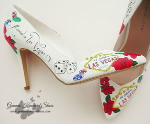 Custom Painted Wedding Shoes with a Las Vegas Theme with the Las Vegas Sign, playing cards, gambling chips and dice. #vegas #weddingshoes #wedding #shoes #bridalshoes #brides #lasvegas