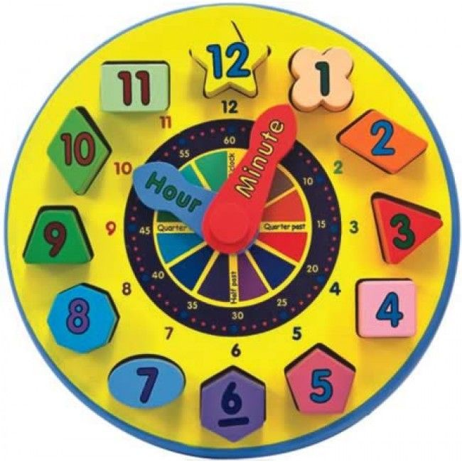Make learning the time super easy with this colourful wooden clock by Melissa & Doug! It features 12 wooden blocks which are all different shapes that fit into matching slots, plus movable hands. It also has hours and minutes to make it very easy to children to grasp the concept of 'time'. #entropytoys #toystore #timetelling #woodentoys #learning