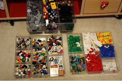 Finally found a great way to organize the Prince's Legos! Organizing desk trays from Target. They slide right under his train table when done. He can see them which helps his creativity rather than having them all dumped in a tub. (He's 6 and can sort)