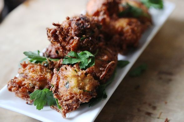 This recipe is an adaptation from Madhur Jaffrey's Curry Nation. It's in the way it's made that makes these onion bhaji amazing!