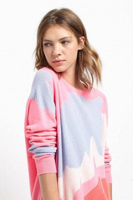 NEW Palm Leaf Pink Cashmere Sweater