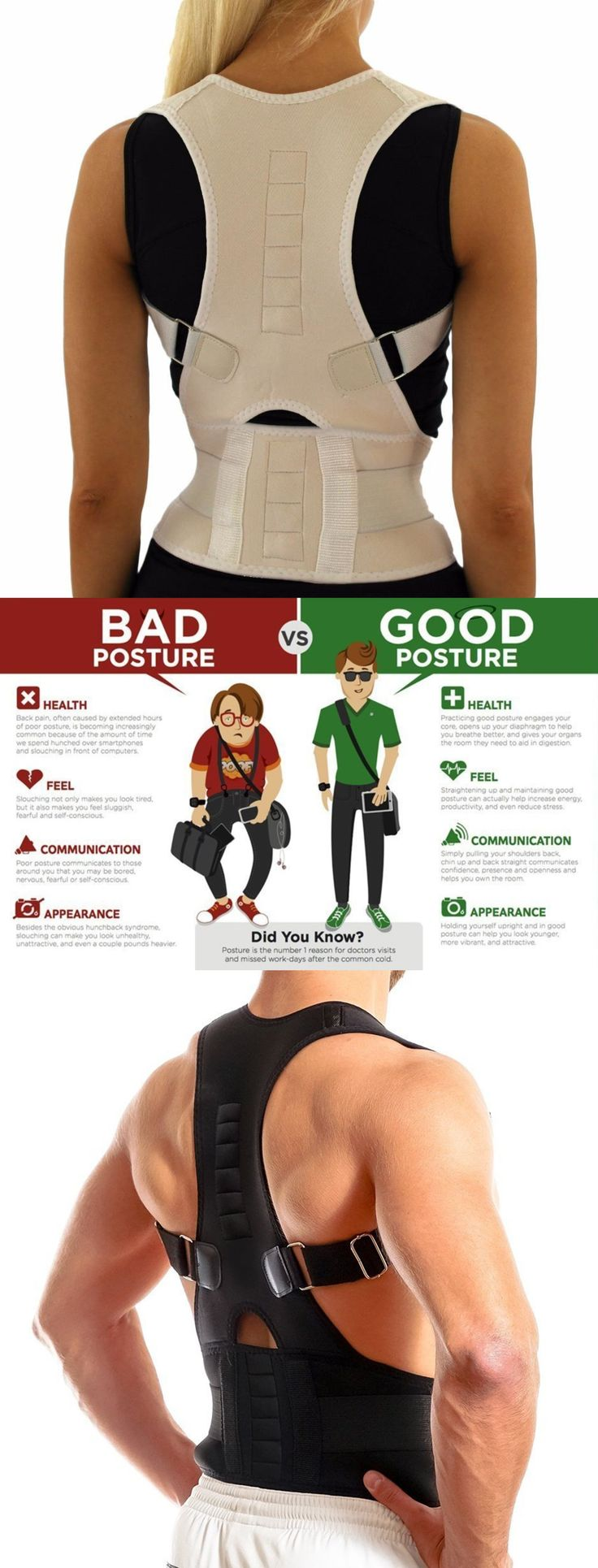 IMPROVE POSTURE - Our StabilityPro™ Posture brace works by training your muscles and spine to return to their natural alignment.  Bad posture, left unchecked, can cause pain, lethargy, and even lead to nerve damage. Our back brace, coupled with physical therapy, aids in the treatment of Back Pain, Scoliosis, Spondylolisthesis, and Thoracic Outlet Syndrome.
