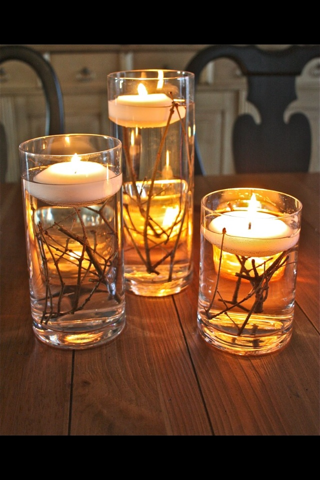 Full Glasses With Water Twigs N Floating Candles Cheap