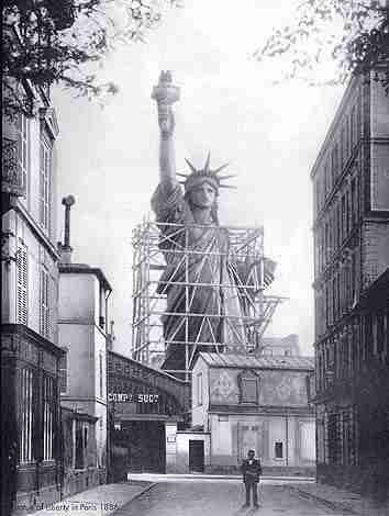 Creating the Lady Liberty in Paris before making a gift of the statue to the United States. After Frederic-Auguste Bartholdi prefabricated the figure in Paris by molding sheets of cooper over a stainless-steel framework, it was shipped to the United States in 241 crates in 1885.