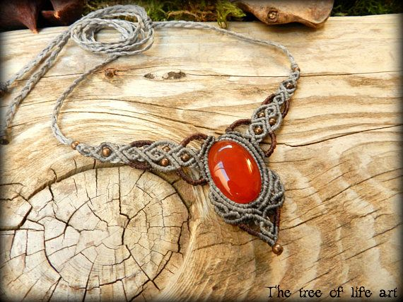 Macrame necklace with red Agate stone/Ethnic necklace/Tribal