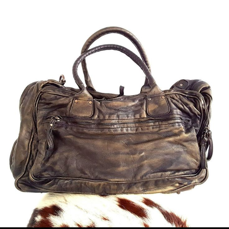 Aged leather bag