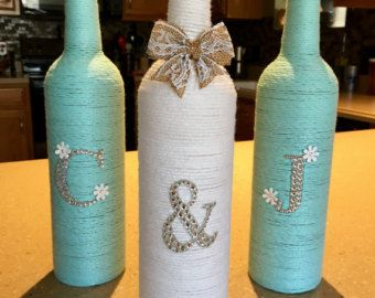 Initial Yarn Wrapped Wine Bottles