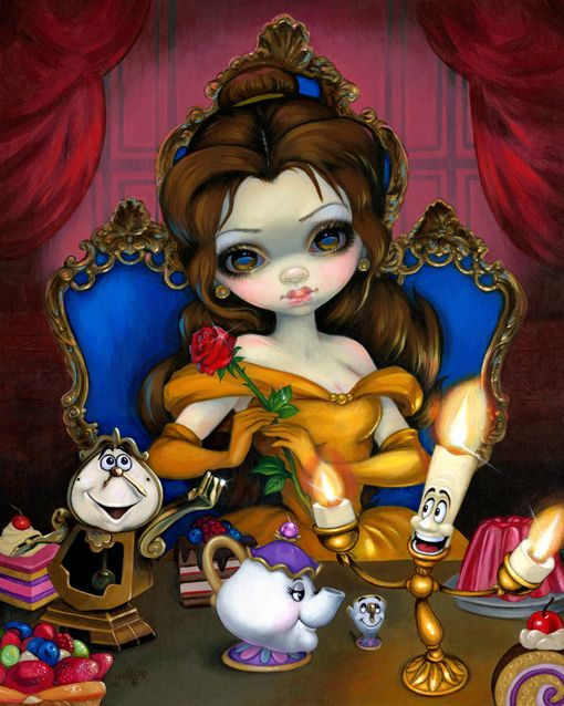 Belle's Enchantment - acrylic painting on panel, created for Disneyland's WonderGround Gallery - details here - http://www.strangeling.com/shop/fine-art-prints-fairytale-art-prints/princess-belle-bells-enchantment/