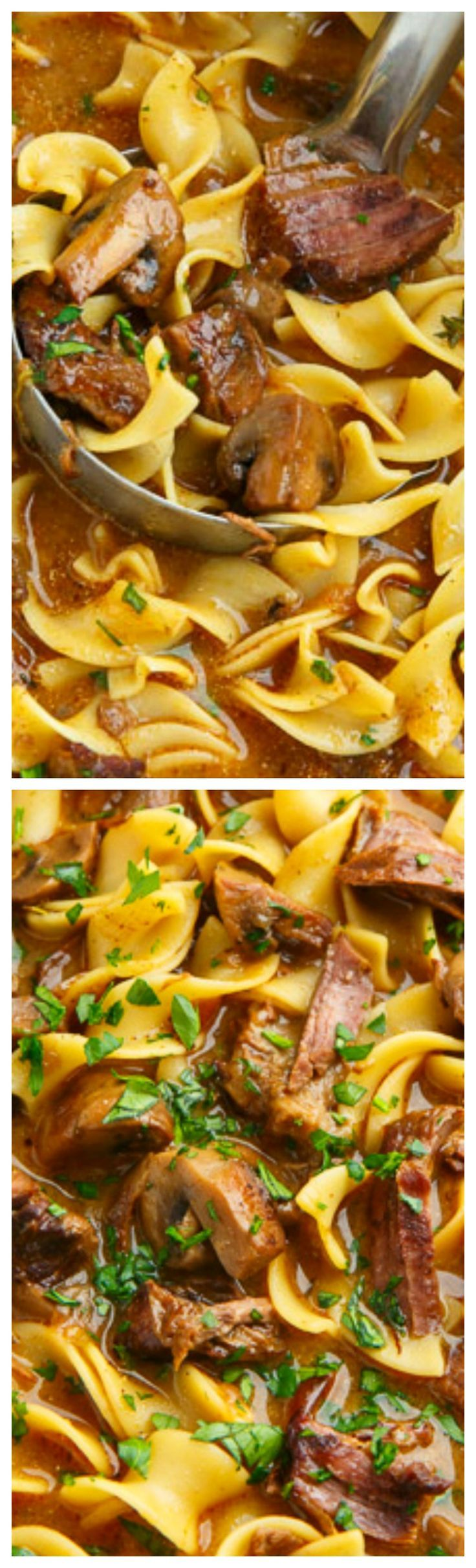 Slow Braised Beef Stroganoff Soup ~ A warm an comforting bowl of slow braised beef stroganoff soup with melt in your mouth beef and egg noodles in a paprika and sour cream broth!