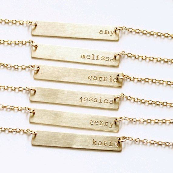 Gold Bar Necklace, Name Bar Necklace, Gold Nameplate Necklace, Personalized Necklace, Personalized Gold Bar Necklace, Initial Necklace by TheSilverWren on Etsy