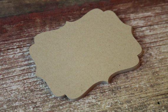 Carta tag, tag, KRAFT, etichette vuote della staffa