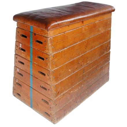 Gymnastic bench, upholstered with real lether available at http://nanovo.cz/svedska-bedna/?lang=en#