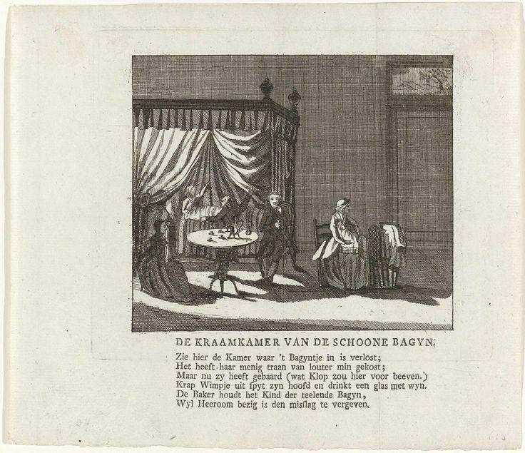 Anonymous   Spotprent op Willem V en zijn maitresse de freule van Lynden, Anonymous, 1782   Kraamkamer waarin een vrouw net is bevallen, rechts neemt een baker het kind op de schoot. Aan een tafel drinkt een man een glas wijn. Een pastoor schenkt de bagijn vergiffenis. Te interpreteren als een spotprent op prins Willem V en zijn maîtresse Constance van Lynden, ca. 1782. Gedrukt op het blad een zesregelig vers.