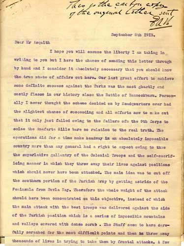 This is a carbon copy of the original letter sent by Ashmead-Bartlett to Asquith (dated September 8, 1915) that contributed to the withdrawal of troops from the Gallipoli Peninsula and the downfall of Sir Ian Hamilton. (In the collection of the State Library of NSW