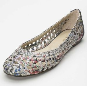 Newspaper Ballet Flats. Colin Lin used recycled newspaper to create environmentally friendly ballet flats that are crafted from recycled Chinese language newspapers that are woven into a lattice pattern, then dipped in plastic for weather protection and durability.