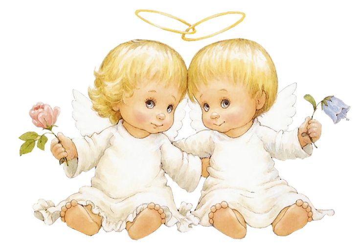 Bilder Engel Kostenlos: Two Baby Angels With Flowers Free Clipart