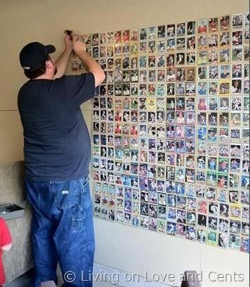 {DIY Baseball Card Wall!} -- Perfect man cave idea!!! Could also be done with disposable bar coasters, playing cards, or vinyl record covers.