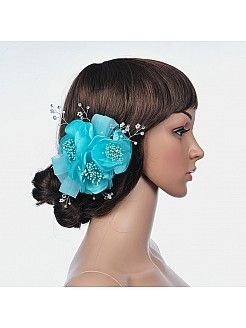 Aquamarine Hair Flower with Rhinestone - USD $13.99