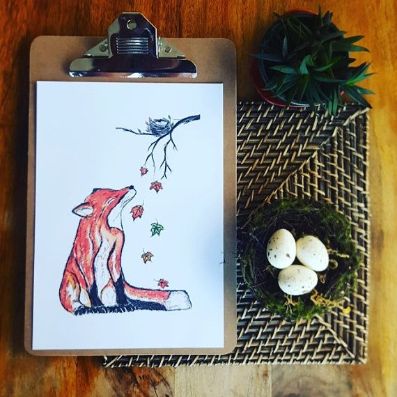 fox art print fox print fox in leaves print by jessicasarahdesign