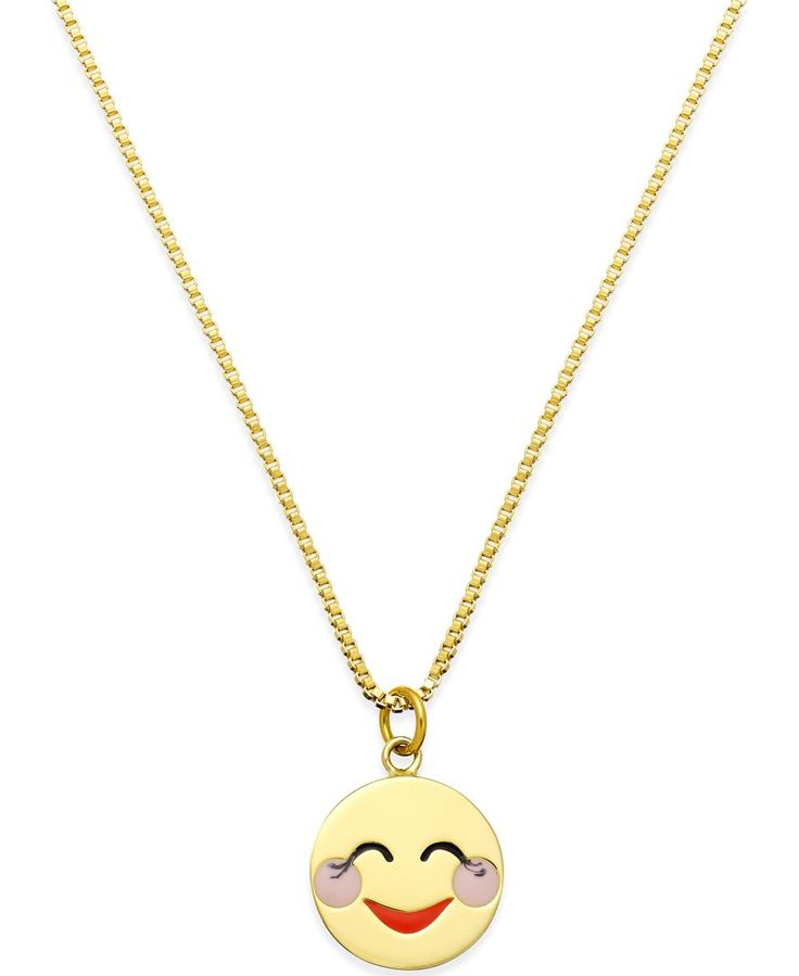Flirting has never been cuter with this blushing emoji pendant necklace from kate spade new york. Crafted in gold-tone mixed metal. Approximate length: 17 inches + 3-inch extender. Approximate drop: 1