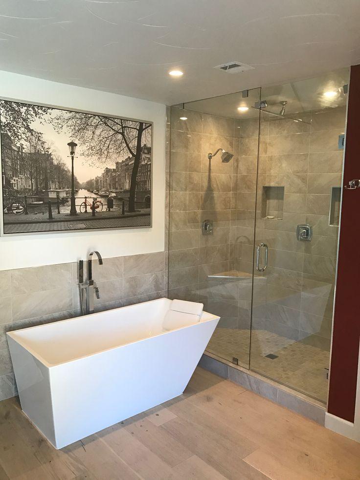 Glass shower enclosure with separate bath tub las vegas for Bath remodel las vegas