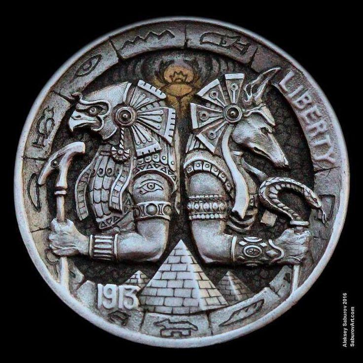 "Hobo Nickel ""Horus & Anubis"" hand-engraved by Aleksey Saburov."